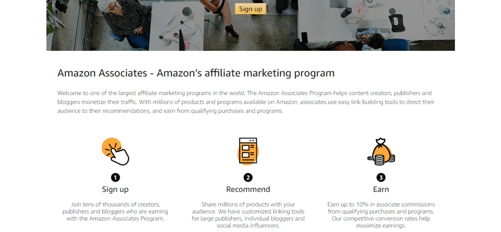 amazon affiliate signup page
